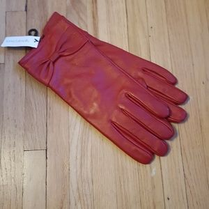NWT Genuine Leather Red Bow Gloves